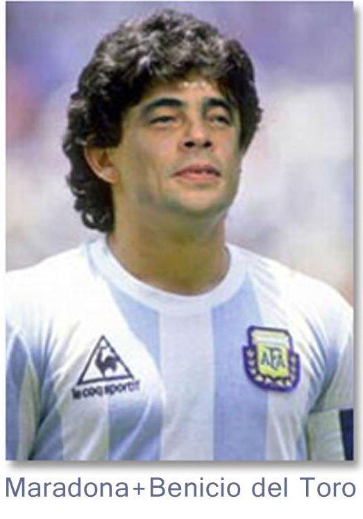 Fotomontaje Maradona Benicio Del Toro