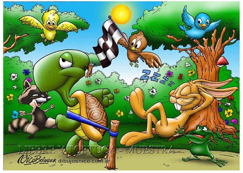Ilustración liebre y tortuga rompecabezas