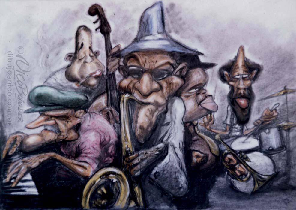 Ilustración Argentina banda Jazz The Band
