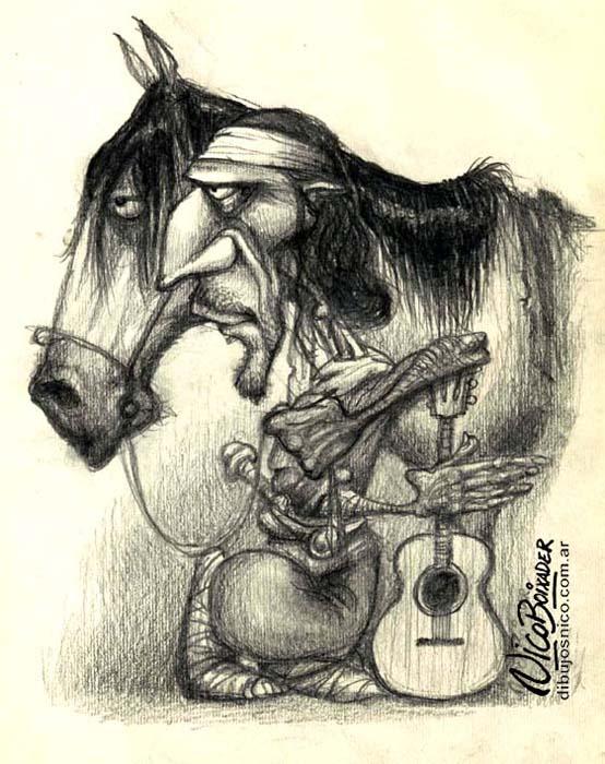 Ilustración Gaucho descanso criollo Pingo