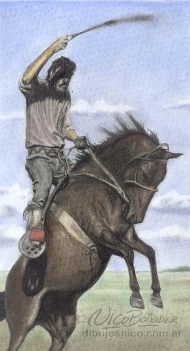 Ilustración Argentina Gaucho Jineteada