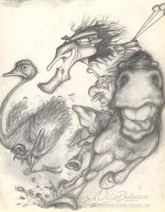 Ilustración Argentina Gaucho Nandu