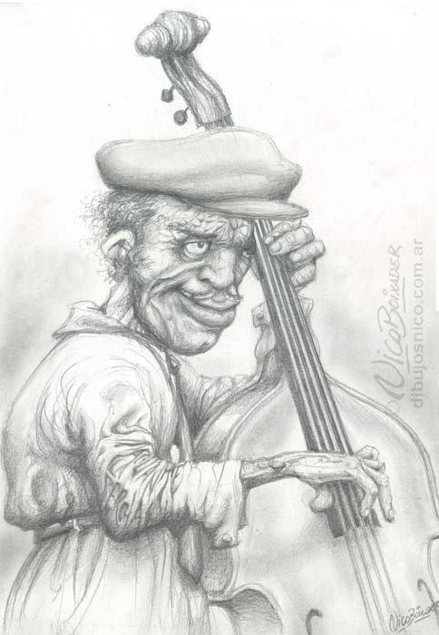 Ilustración Argentina Jazz Contrabajo Alcorta