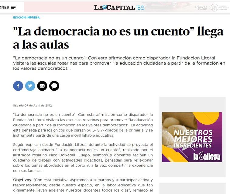 Nota Diario La Capital cortometraje animado
